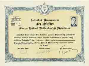 The First Hight Chemical Engineer of Turkey is H�seyn Hilmi I��k's Chemistry Engineering Diploma. The number of diploma is 1/1
