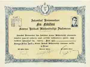 Türkiye'nin ilk Yüksek Kimya Mühendisi olan Hüseyin Hilmi Işık'ın 1936 yılında aldığı 1/1 sayılı diploması